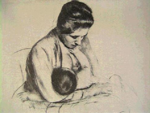 mother breastfeeding cassat