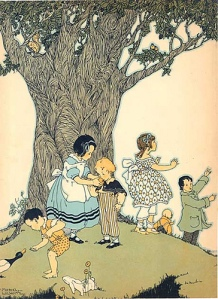 children under tree