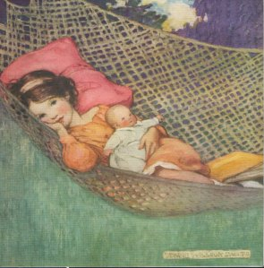girl hammock vintage